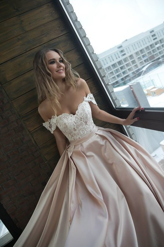 Charming Prom Dress,Off the Shoulder Prom Gown, Satin Prom Dress, Lace Prom Gown