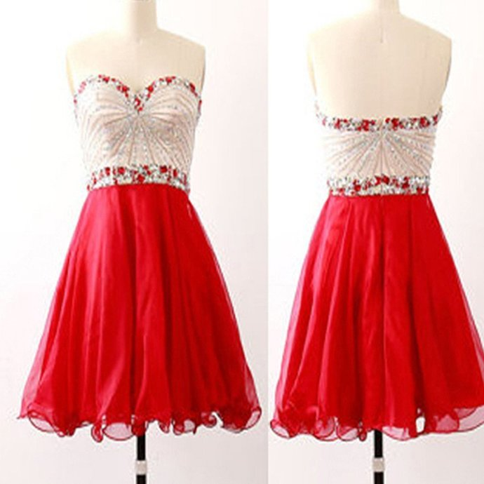 Sparkly Beaded Red Tulle Short Homecoming Dress, Red School Dance Dress