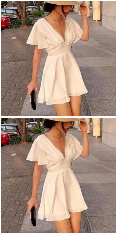 V Neck Homecoming dresses , Short Sleeves Homecoming Dress V Neck Homecoming