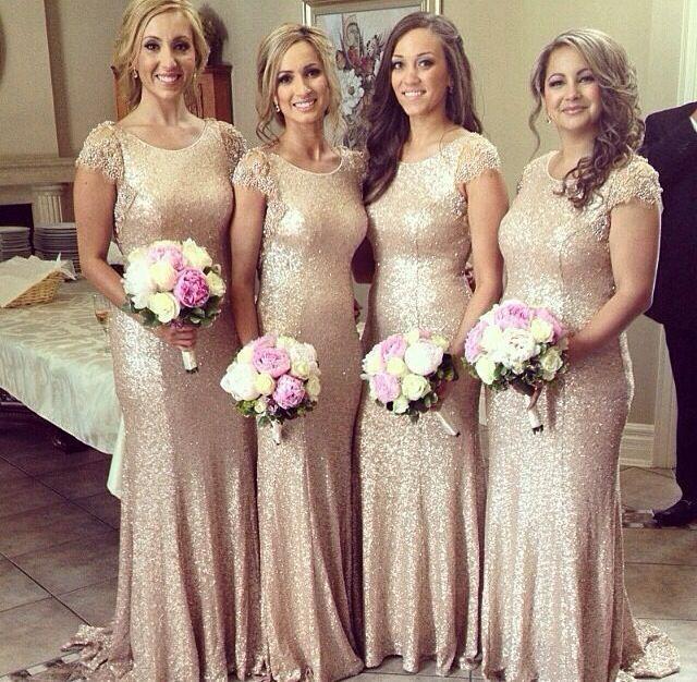 cap sleeve gold sequin bridesmaid dresses long mermaid beaded cheap wedding