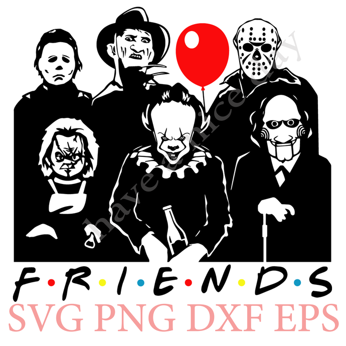 Friends Horror Movie Creepy Halloween Horror Team SVG PNG EPS Cameo Silhouette