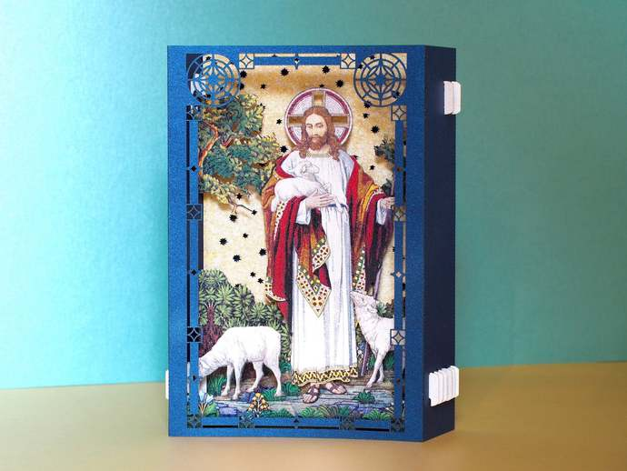 Religious pop up card gift. Jesus lambs altar paper 3d box cards. Holy religious