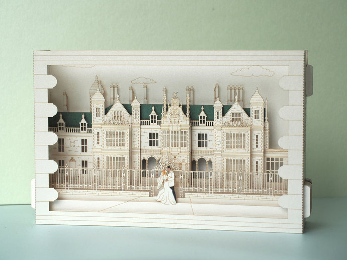 Stoke Rochford Hall in Lincolnshire England. Wedding invitations pop up. Laser