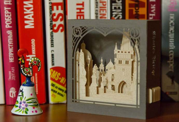 Prague Charles Bridge Old Town Paper Art objects collectibles Gift Miniature