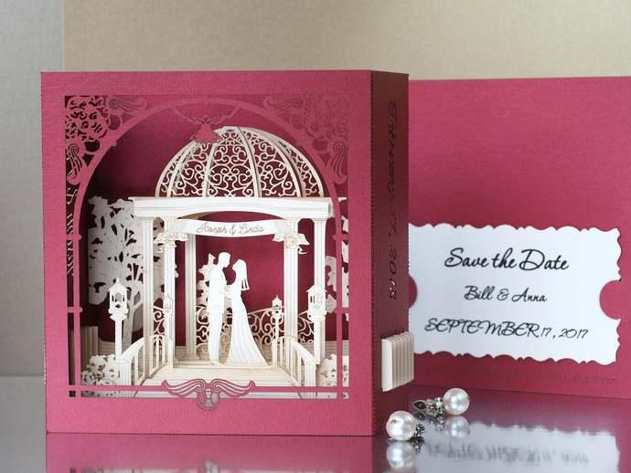 Wedding stationary pop-up invitations 3d laser cut bride groom figures custom