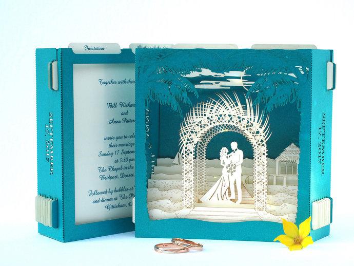 Tropical wedding invitations destination cards Sea invites RSVP card pop up 3d