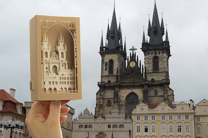 The Church of Our Lady before Tyn. Prague paper Architecture model miniature.