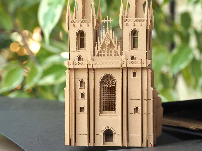 Pop up card Prague The Church of Our Lady before Tyn 3d paper model architecture