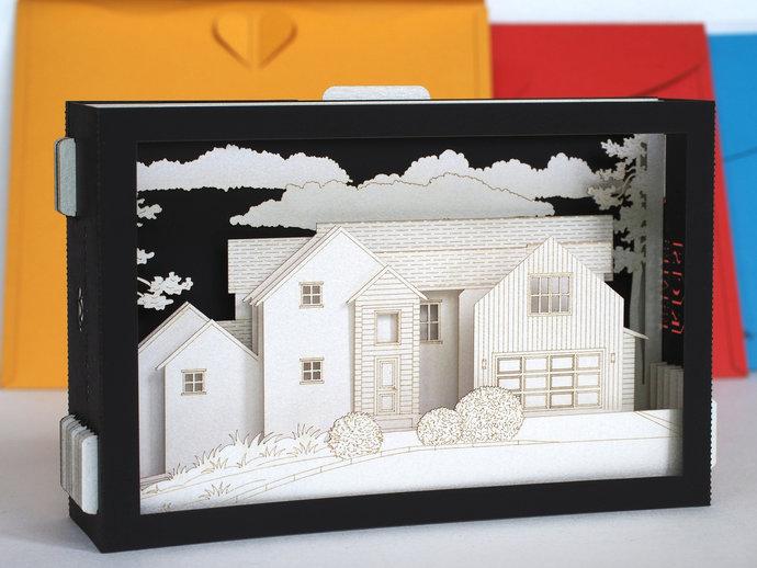 Realtor gift clients. Model paper house architecture. Custom design pop up 3d