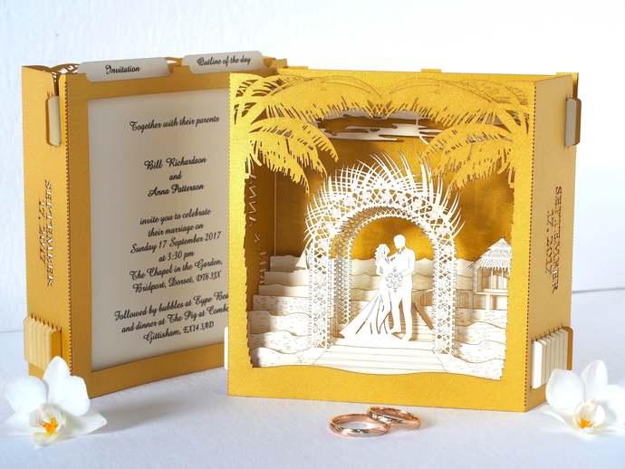 Sea Wedding invitations. Beach, sea, tropic. Bride, groom. Popup invitation.
