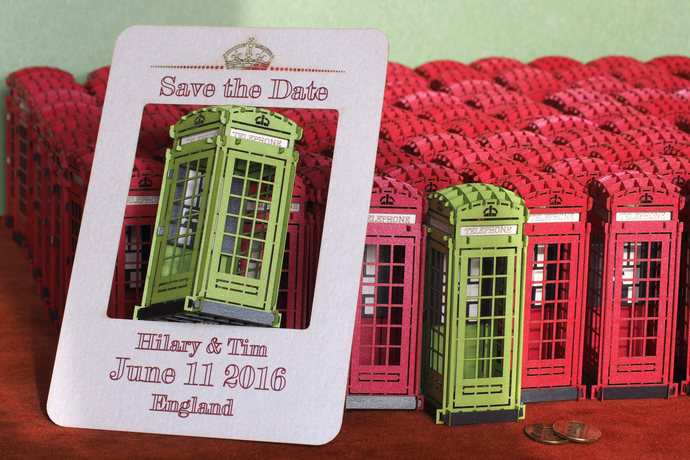 Save the Date Card for wedding invite to England. London Telephone Booth from
