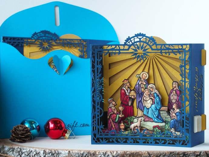 Religious Calendar Jesus Birth. Nativity Scene, Holy Star, Mother Mary design.