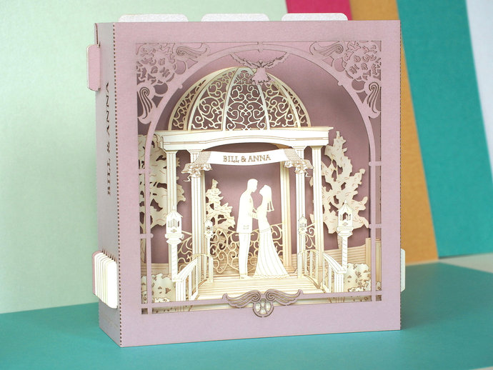 Wedding pop up card Arch bride groom marriage ceremony info-cards inserts pop up