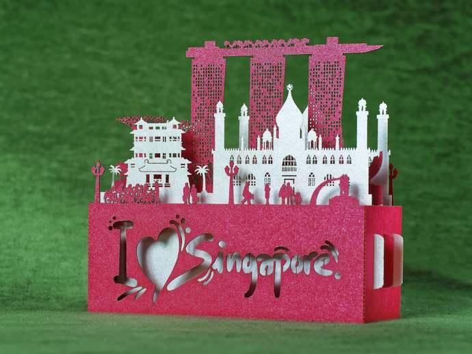 Singapore Landmarks miniature. Paper architecture. Flag card. Gift paper art