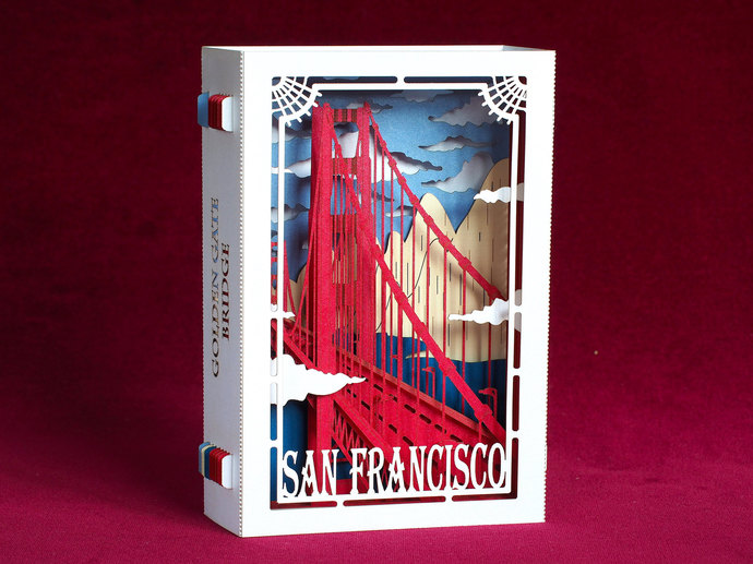 USA California San Francisco Golden Bridge. Art Design pop up card. Unique Paper