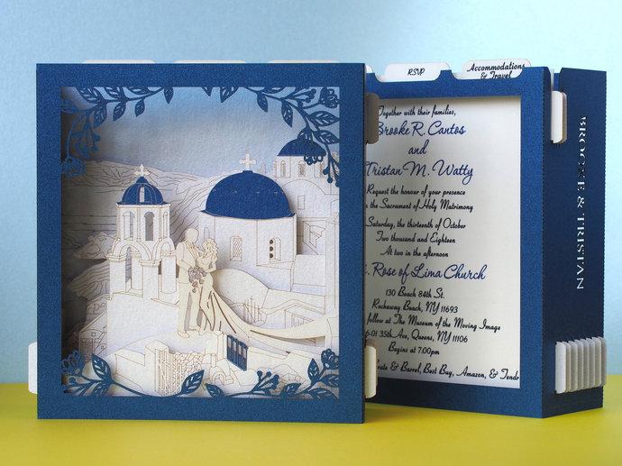 Santorini Greece Wedding Card pop up travel wedding invitations Destination