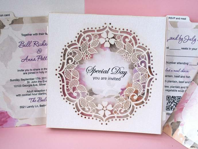 Wedding invitations pattern design wreath laser cur pop-up cards 3d white