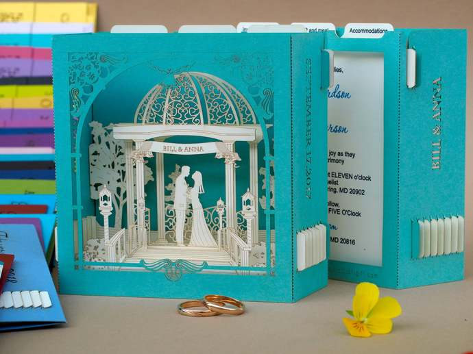Laser Cut Invitation Cutting Invitations Wedding Pop up 3d invitation Custom