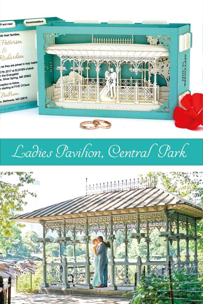 Wedding Arch Central Park NYC Laser cut invitations. Turquoise cards. Pop-up