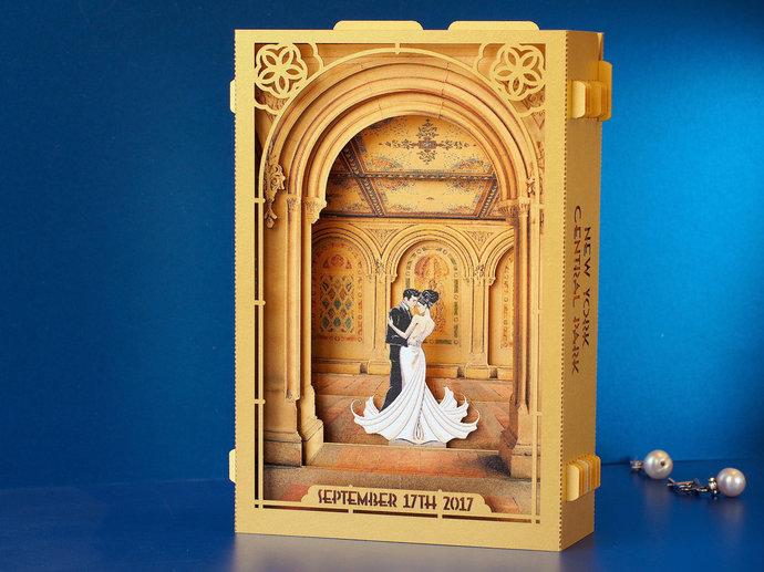 Wedding Invitation Central Park NYC Bethesda Fountain Terrace pop-up invitations