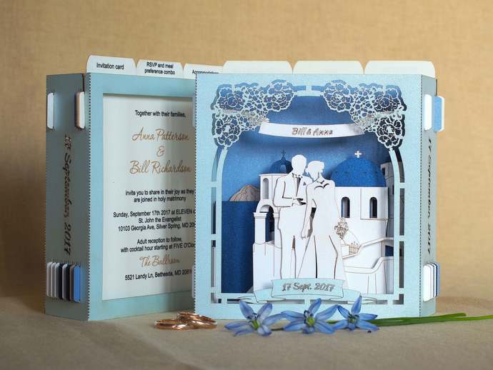 Santorini wedding invitation card destination wedding Greece Greek Save the Date