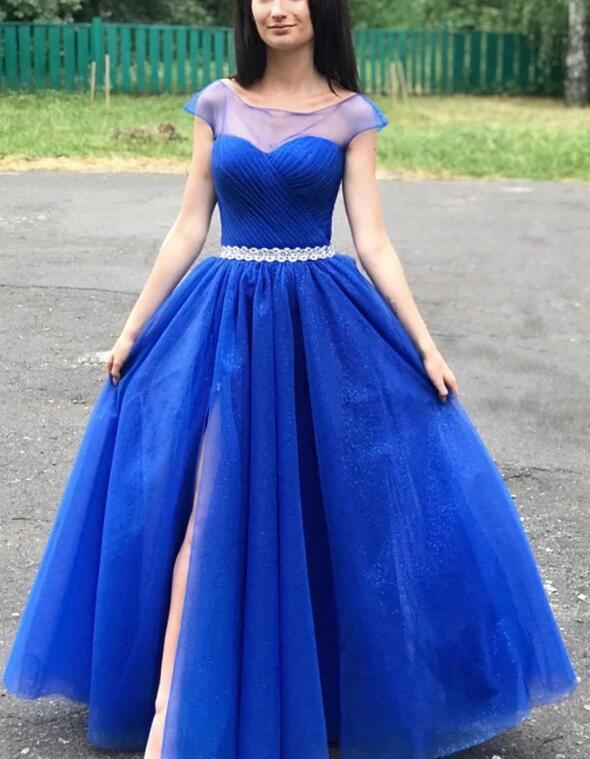 Charming Cap Sleeves Tulle Blue Long Party Dress 2020, Blue Prom Dress