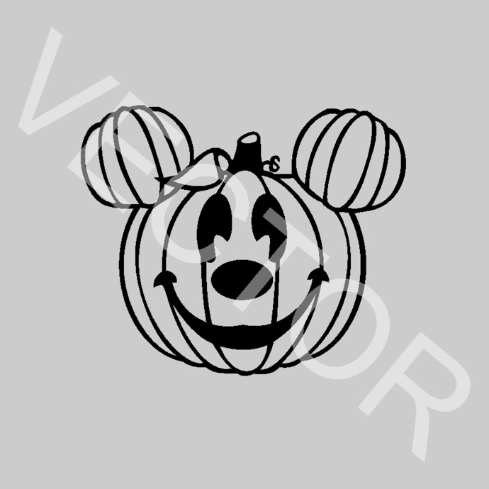 Mickey Mouse Pumpkin Ears Disney Halloween Graphics SVG Dxf EPS Png Cdr Ai Pdf