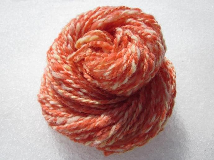 Handspun Double-Ply Strawberry Lemonade Wool Yarn for sale