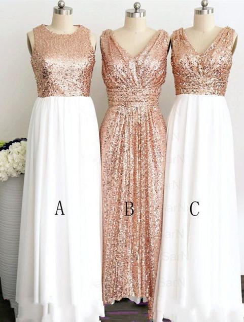 Beautiful Sequined Bridesmaid Dresses Long,  Shinning Long Prom Dress
