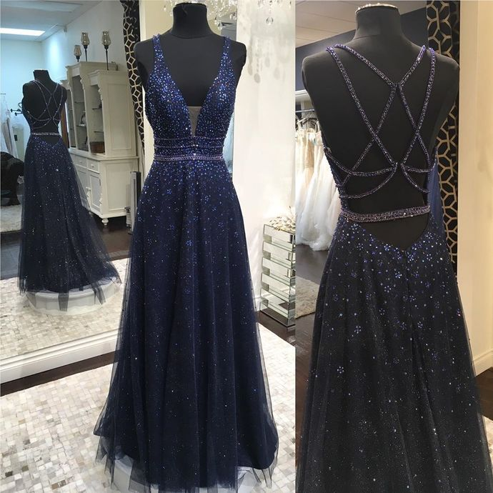 Navy Prom Dress,Beading Prom Gown, Tulle Prom Dress, A-Line Prom Gown 9986