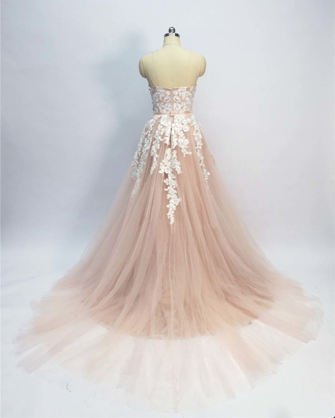 Elegant Pink A Line Lace Prom Dress Appliqued  Party Gowns, Custom Made Long