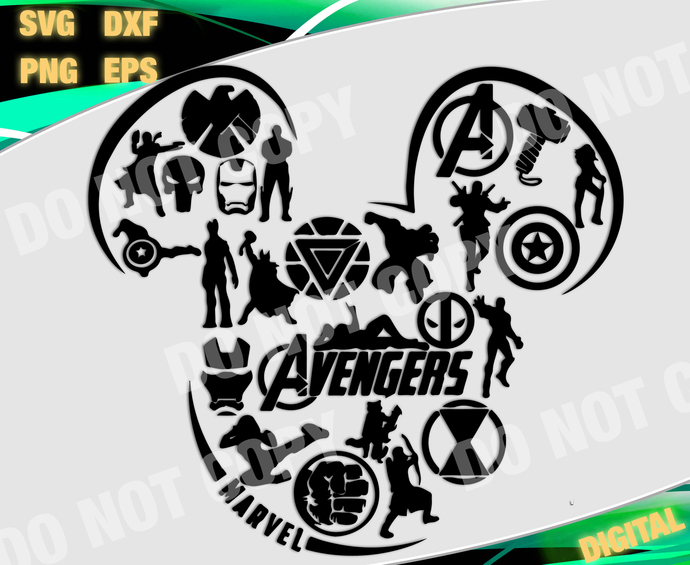 Marvel cut file, Marvel svg, Marvel Advenger  svg, Mickey Advenger files for