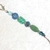 Zipper Pull or Charm, beaded in Blue and Green sparkling beads with silvery