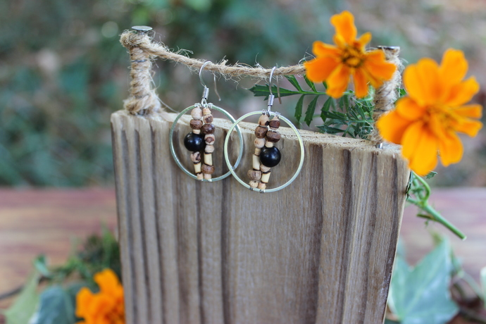 Shungite & wood EMF protection earrings
