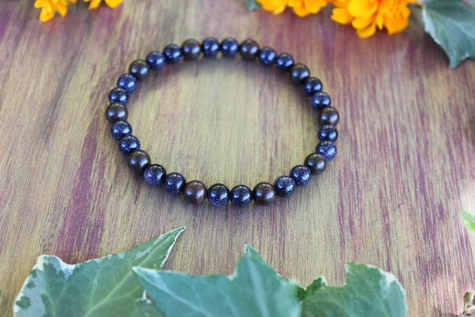 Size 9 Blue Goldstone & wood bracelet