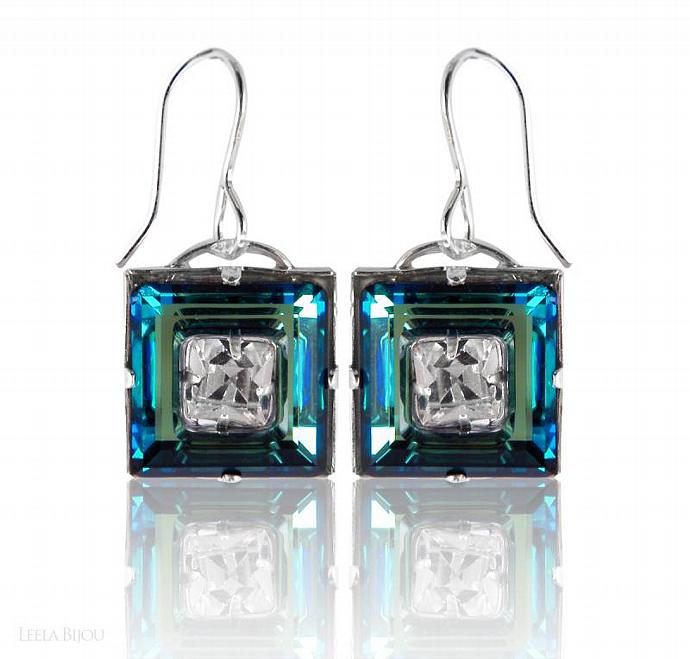 Blue Green Earrings Swarovski Crystal Sterling Silver Square Vitrail