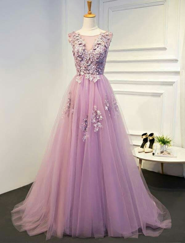 Pink Prom Dress,Appliques Prom Gown, Tulle Prom Dress, A-Line Prom Gown 9988