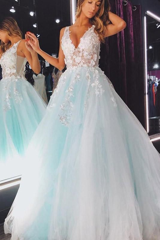 Charming Prom Dress,Appliques Prom Gown, Tulle Prom Dress, A-Line Prom Gown 9989