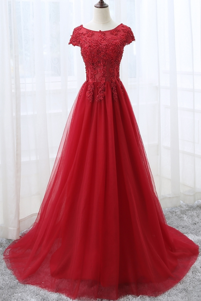 Elegant Round Neckline Tulle Long Party Dress, Red A-line Prom Dress