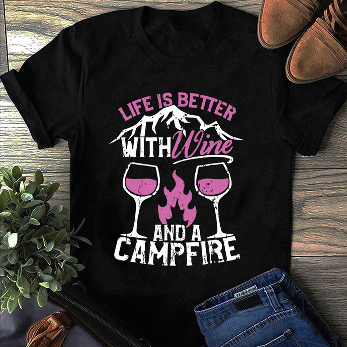 Camping cut file, Life Is Better With Wine And A Campfire Camping Svg, Camping