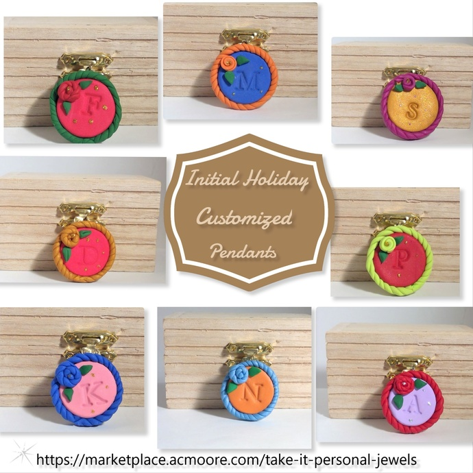 Customized Initial Holiday Pendants Jewelry holiday gifts Polymer Clay
