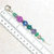 Zipper Pull or Charm, beaded in Blue, Green, and Purple sparkling beads with