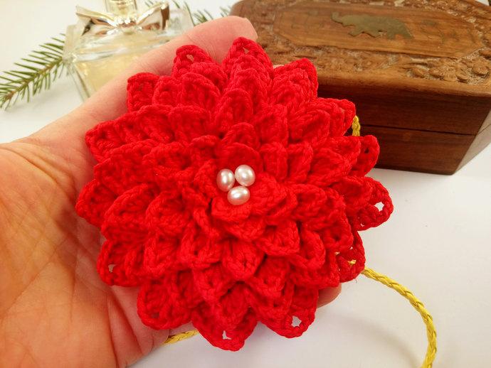Large Red Flower Pendant Crochet Necklace Roze Pendant Necklace Boho Necklace