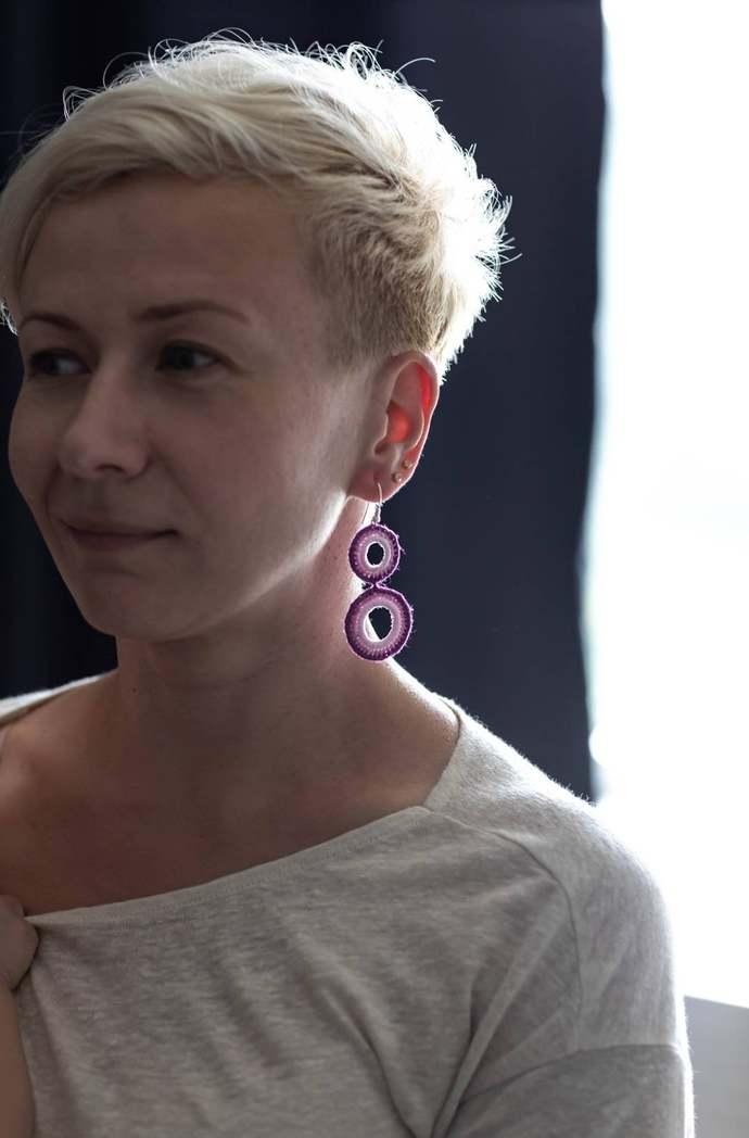 Purple Long Crochet Earrings Statement Hoops Earrings Geometric Earrings Boho