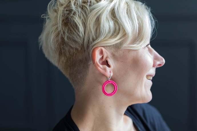 Circle Pink Earrings Boho Earrings Statement Earrings Silver Huggie Earrings