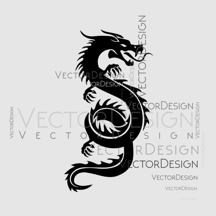 Chinese dragon Graphics SVG Dxf EPS Png Cdr Ai Pdf Vector Art Clipart instant