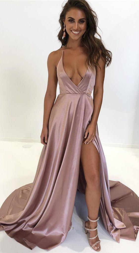 Long Slit Satin Prom Dress ,Spaghetti Straps Women Floor Length Evening