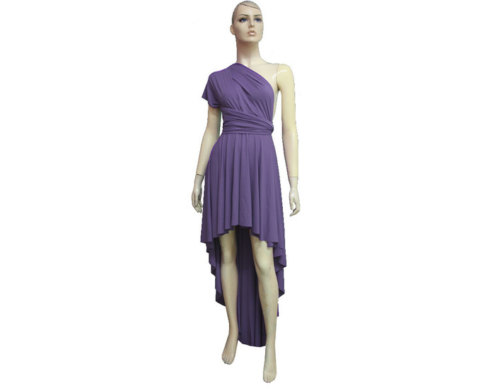 Dusty Purple Infinity Dress High Low Bridesmaid Gown Plus Size Evening  Dress Multiway Prom Gown Formal Dress Wrap Convertible Gown XXS-5X