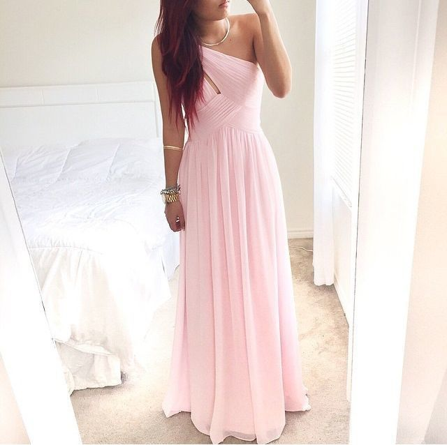 Pretty Pink One-Shoulder Simple Prom Dress With Beadings Prom Dresses Simple