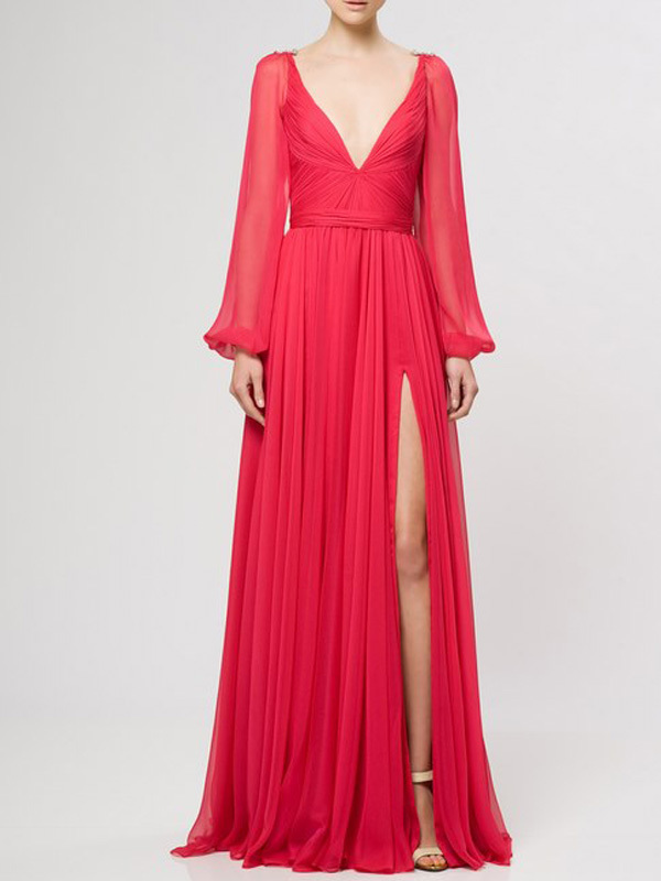 Sexy V-Neck Prom Dress, Elegant Long Sleeve Prom Dress ,A-Line Chiffon Evening